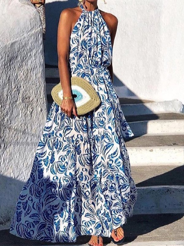Boho Halter Swing Maxi Dress - Blue L