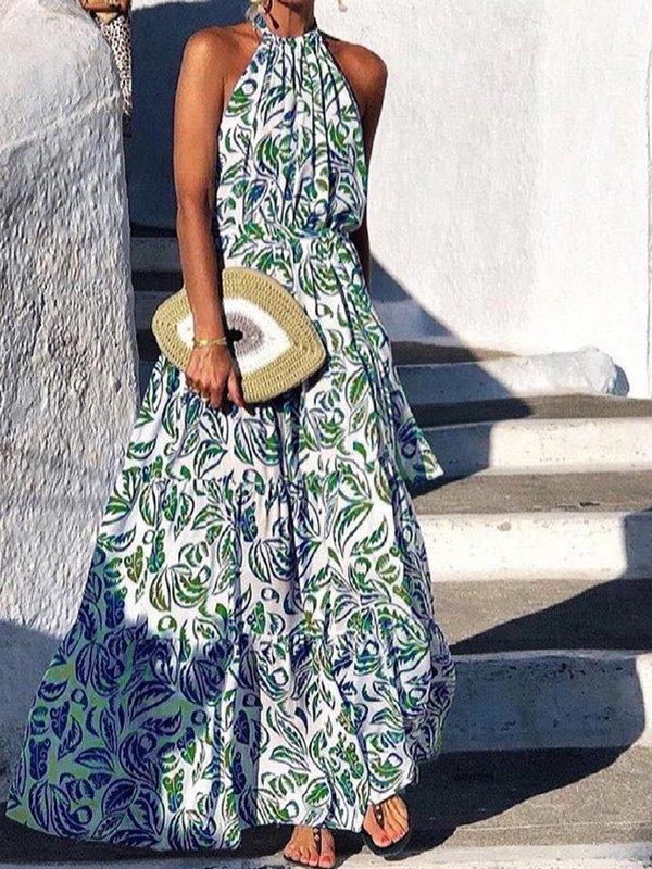 Boho Halter Swing Maxi Dress - Green L