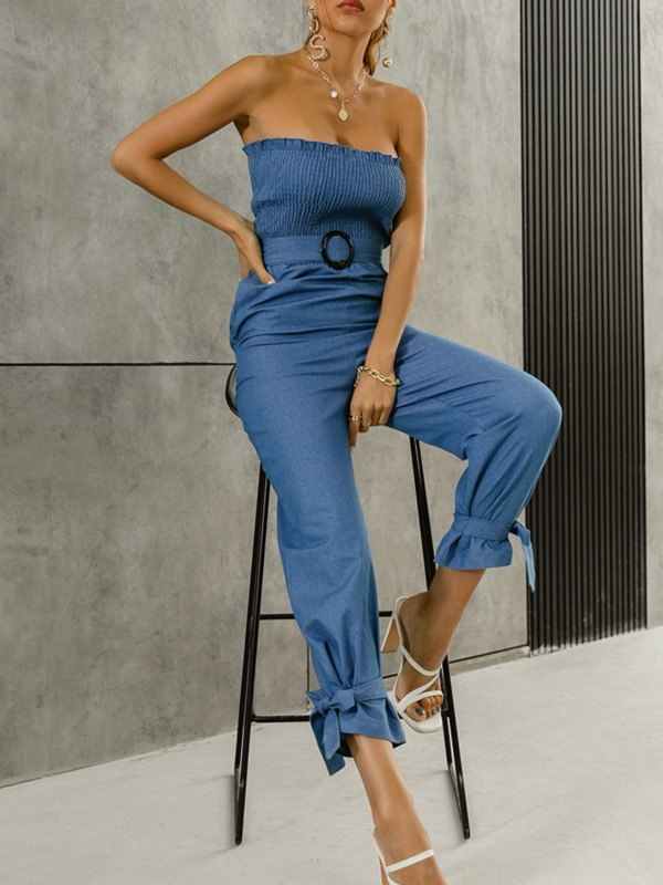 Belted Smock Bodycon Jumpsuit - Blue L