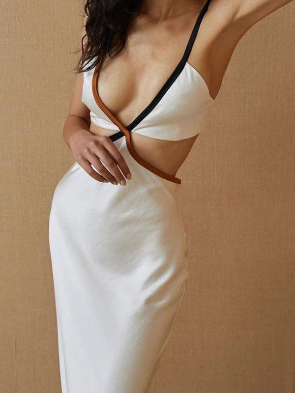 Plunge Neck Cutout Sling Maxi Dress - White L