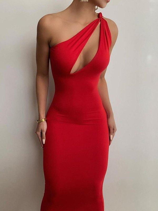 Slant Shoulder Bodycon Maxi Dress - Red L