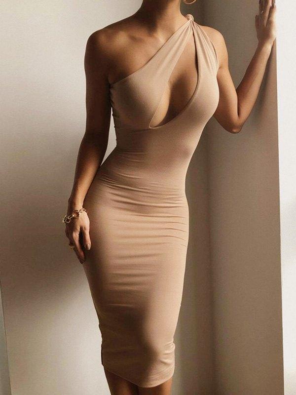 Slant Shoulder Bodycon Maxi Dress - Apricot M
