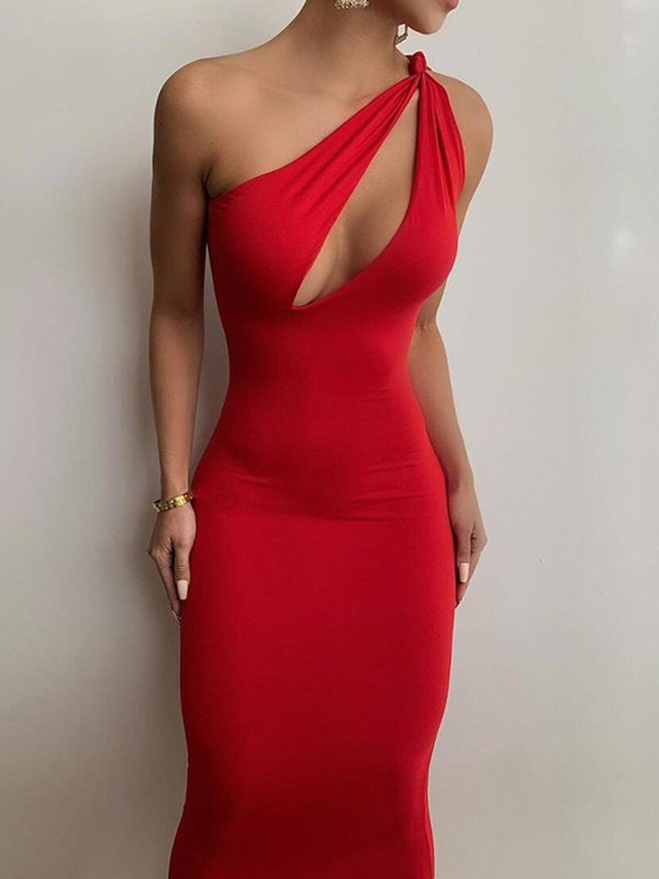 Slant Shoulder Bodycon Maxi Dress - Red M