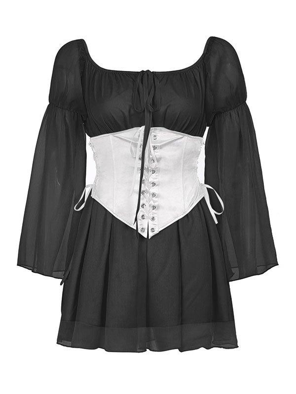 Mini abito con corsetto a maniche lunghe - Nero S