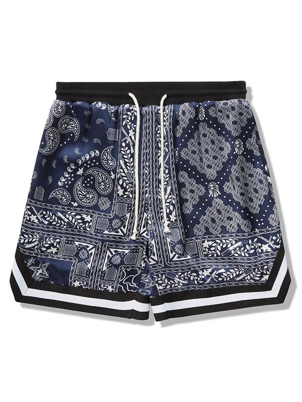 Men's Bandana Print Casual Shorts - Navy Blue L