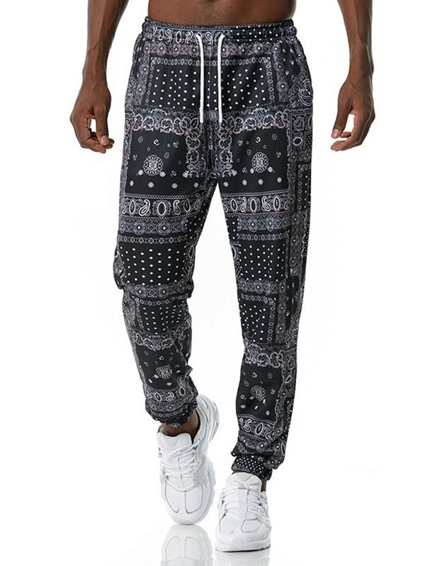 Men's Paisley Print Jogger Pants - Black L