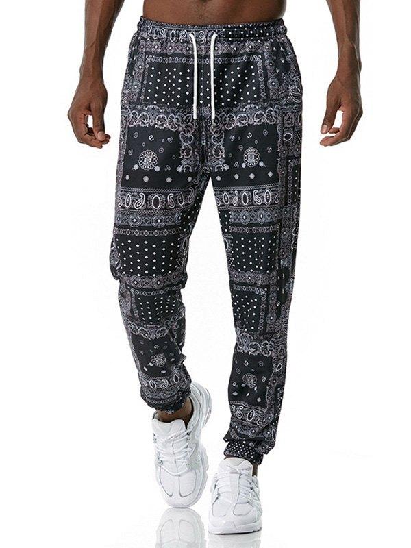 Men's Paisley Print Jogger Pants - Black XL