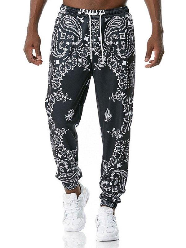 Men's Paisley Print Jersey Pants - Black 3XL