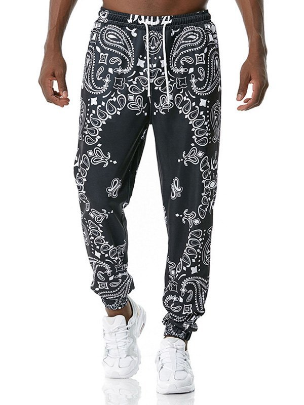 Men's Paisley Print Jersey Pants - Black M