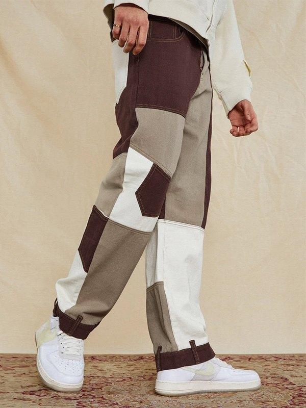Jeans de skate à patchwork pour hommes -