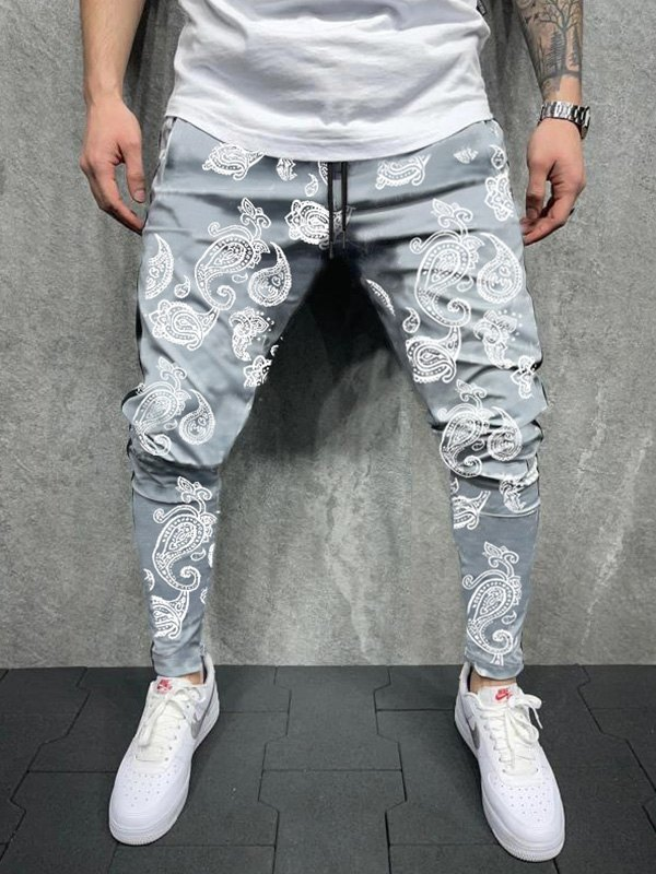 Men's Paisley Print Tapered Pants - Gray 2XL