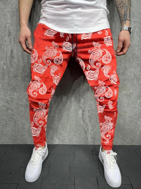 Men's Paisley Print Tapered Pants - Red XL
