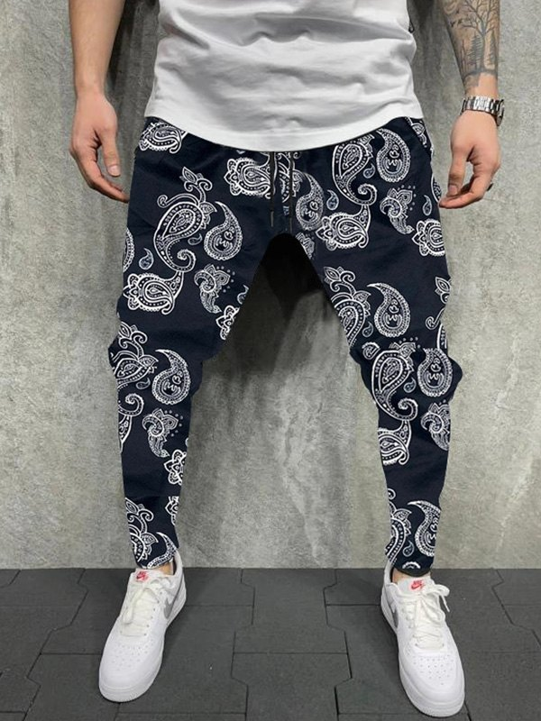 Men's Paisley Print Tapered Pants - Black XL