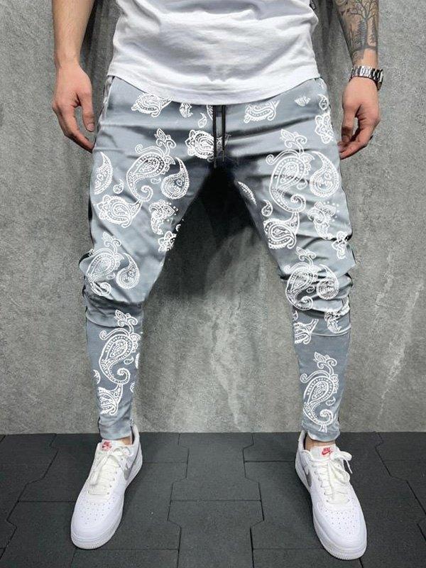 Men's Paisley Print Tapered Pants - Gray M