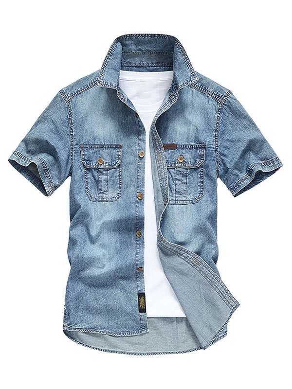 Men's Short Sleeve Denim Shirt - Blue XL