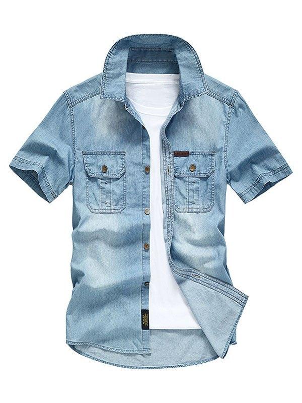 Men's Short Sleeve Denim Shirt - Sky Blue 2XL