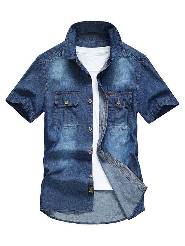 Men's Short Sleeve Denim Shirt - Navy Blue 3XL