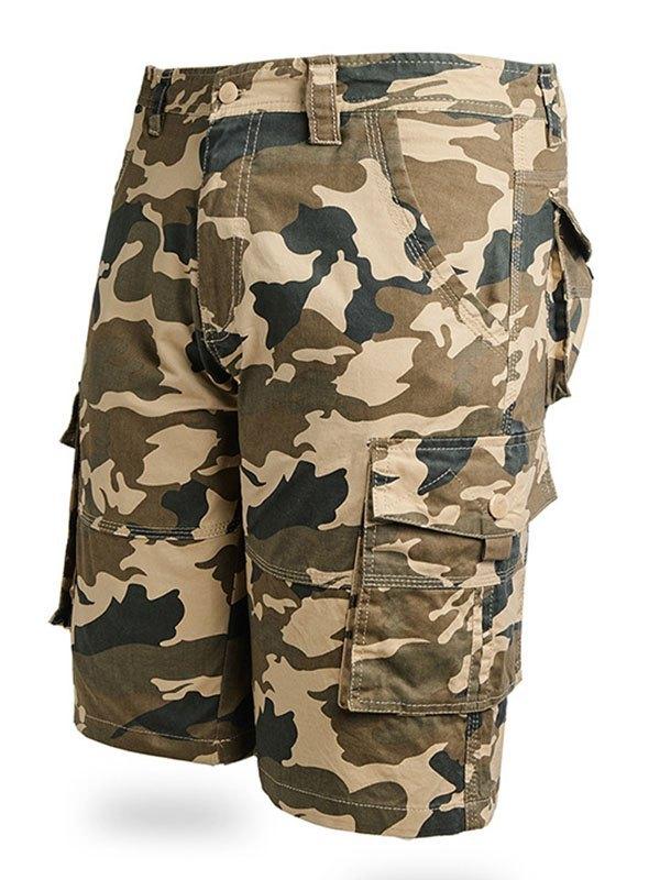 Men's Cotton Camo Cargo Shorts - Khaki 6XL
