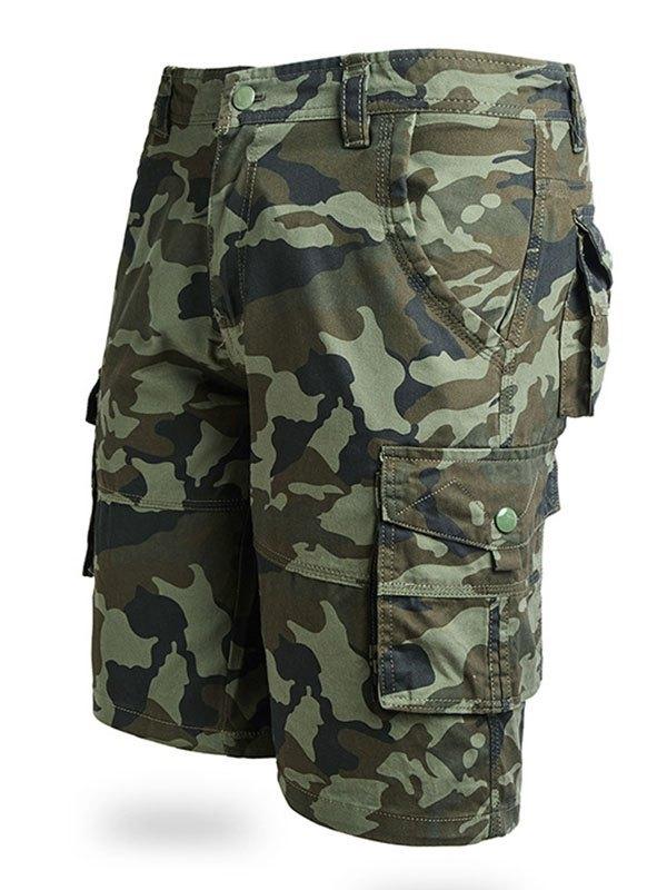 Men's Cotton Camo Cargo Shorts - Chive L