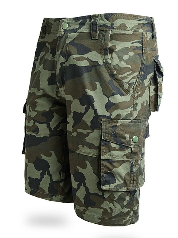 Men's Cotton Camo Cargo Shorts - Chive S