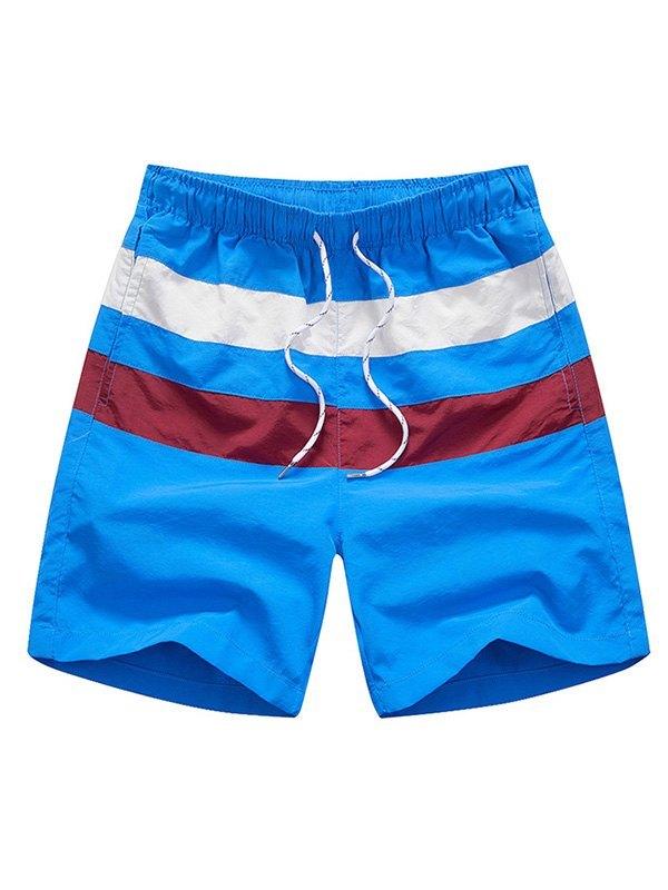Men's Quick Dry Striped Swim Trunks - Blue L