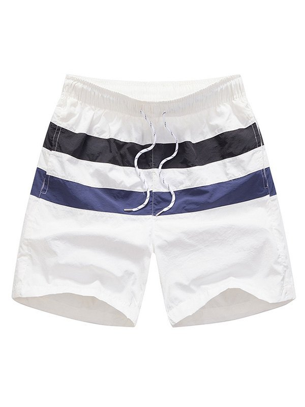 Men's Quick Dry Striped Swim Trunks - White 2XL