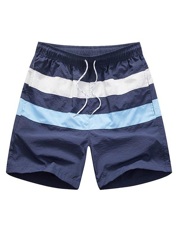 Men's Quick Dry Striped Swim Trunks - Navy Blue 2XL