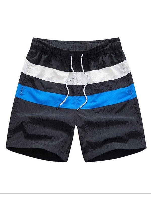 Men's Quick Dry Striped Swim Trunks - Black L