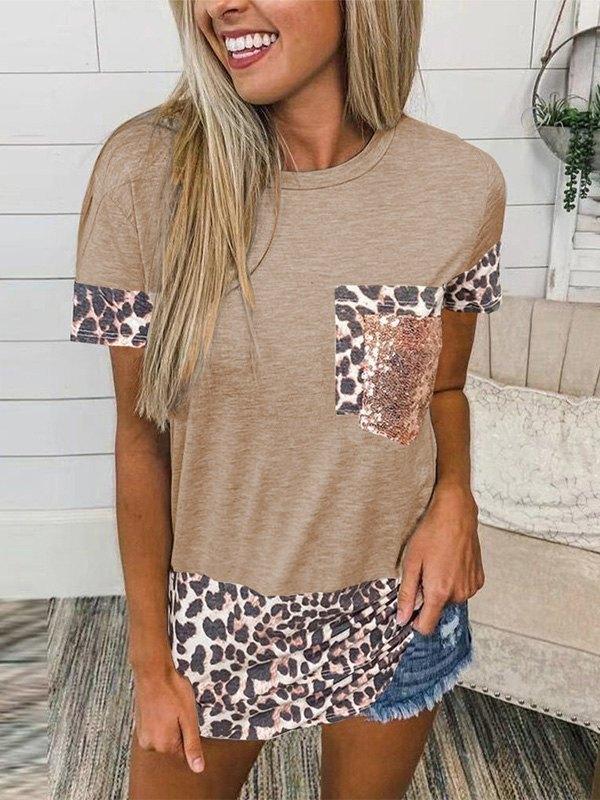 Leopard Splice Short Sleeve Tee - Khaki M