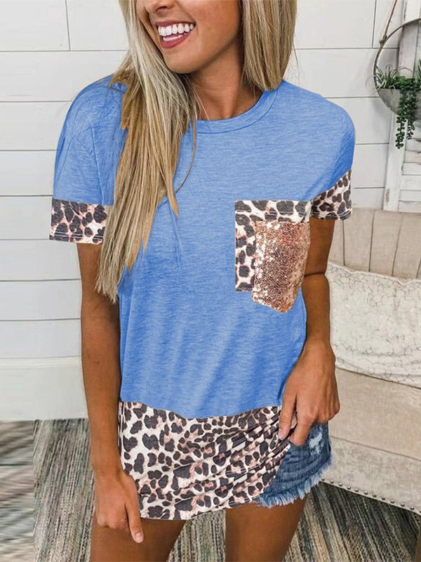 Leopard Splice Short Sleeve Tee - Blue L