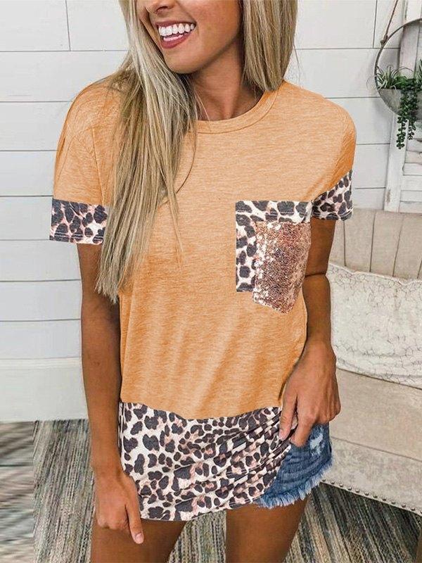 Leopard Splice Short Sleeve Tee - Orange M