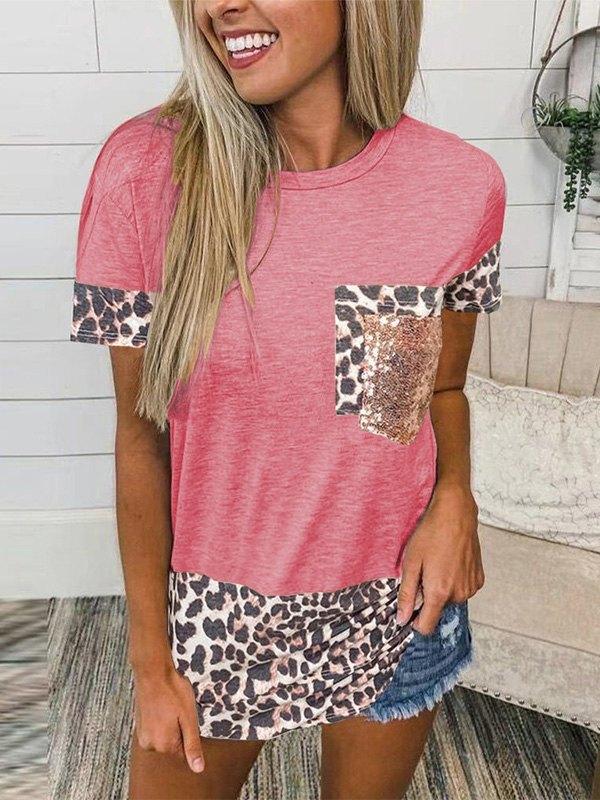 Leopard Splice Short Sleeve Tee - Red 5XL