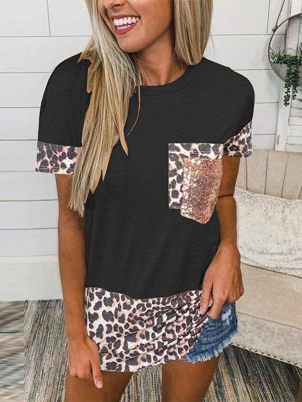 Leopard Splice Short Sleeve Tee - Black L