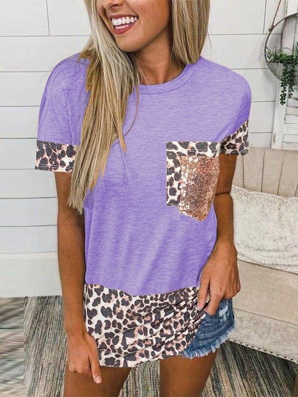 Leopard Splice Short Sleeve Tee - Purple S