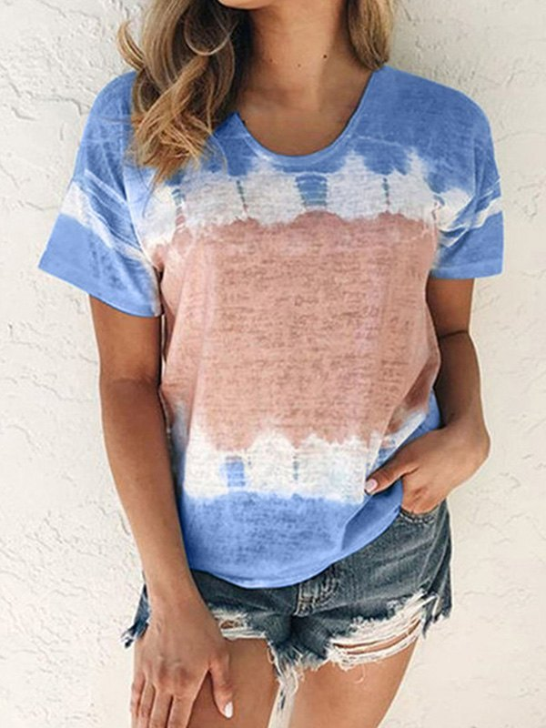 Tie-Dye Short Sleeve Crew Tee - Blue 4XL