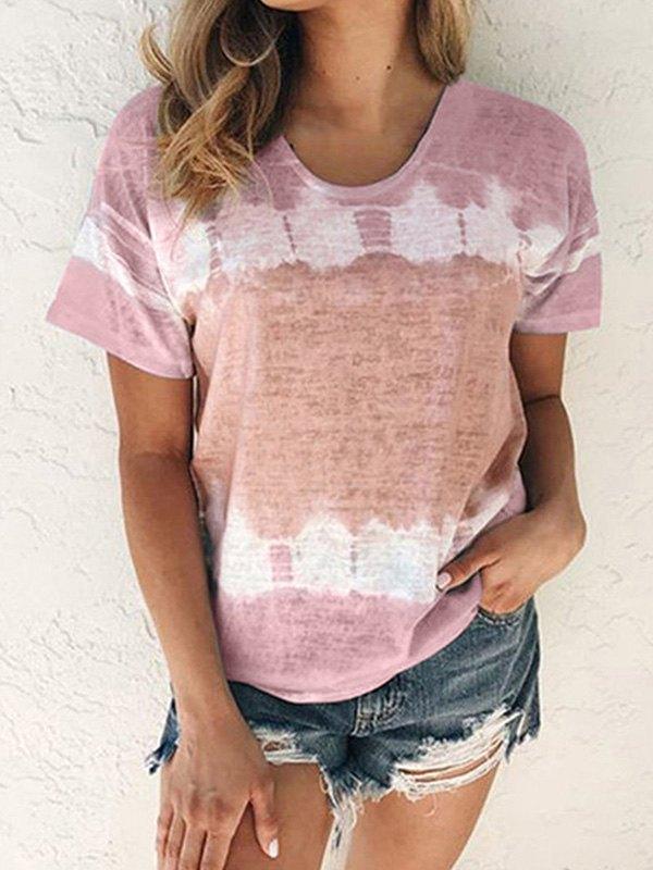 Tie-Dye Short Sleeve Crew Tee - Pink L