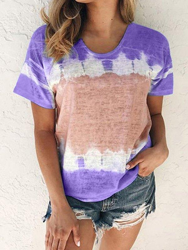 Tie-Dye Short Sleeve Crew Tee - Purple XL