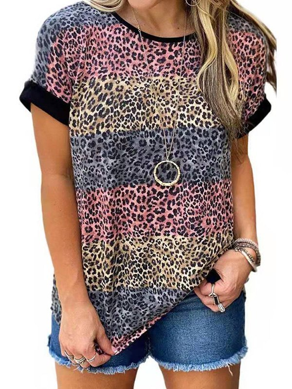 Leopard Print Crew Ringer Tee - Red 4XL