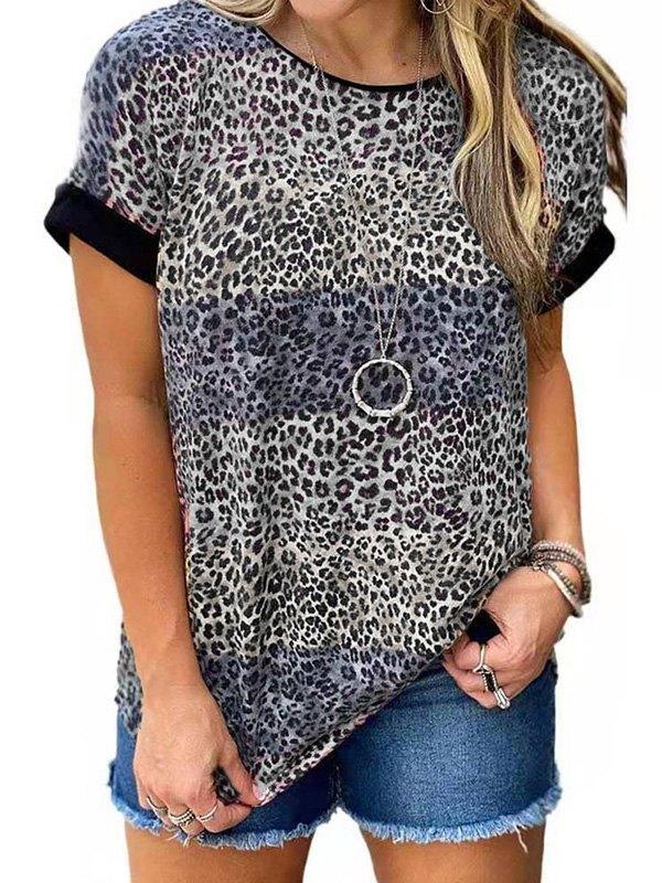 Leopard Print Crew Ringer Tee - Gray S