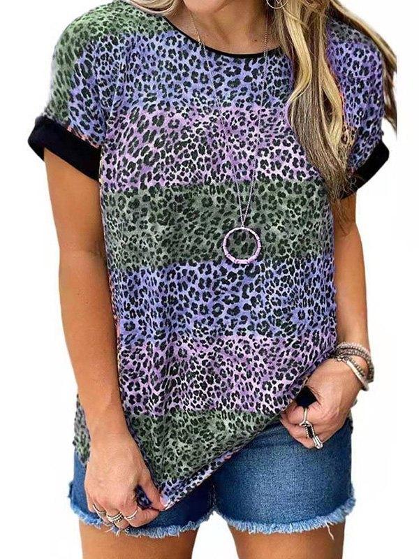 Leopard Print Crew Ringer Tee - Blue 2XL