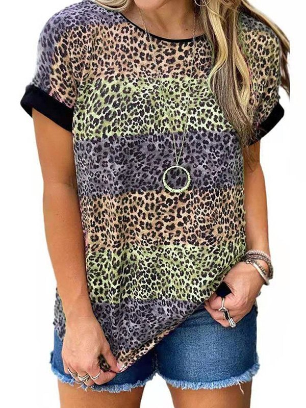 Leopard Print Crew Ringer Tee - Orange 5XL