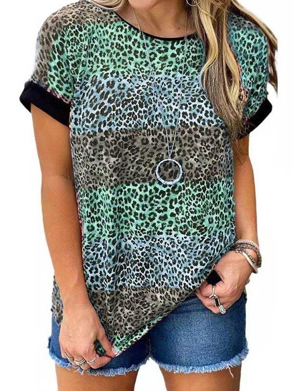 Leopard Print Crew Ringer Tee - Green 5XL