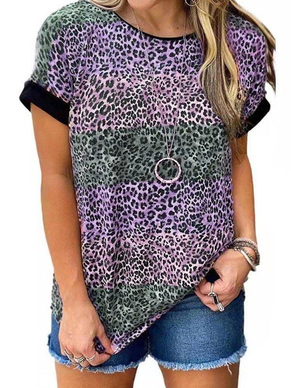Leopard Print Crew Ringer Tee - Purple S