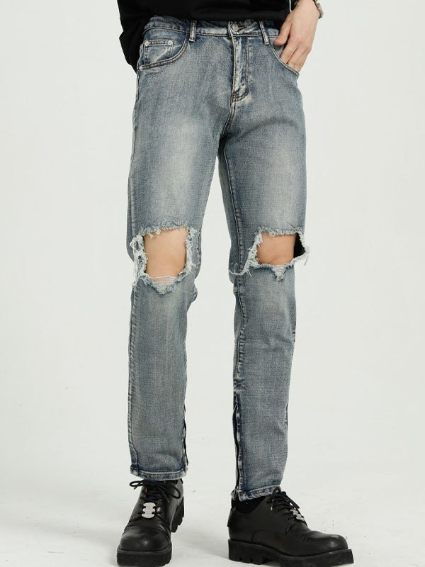 Men's Straight Ripped Jeans - Blue S