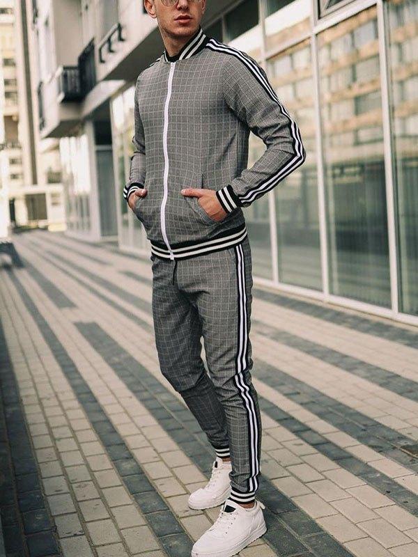 Men's Plaid Long Sleeve Tracksuit Set - Gray 3XL