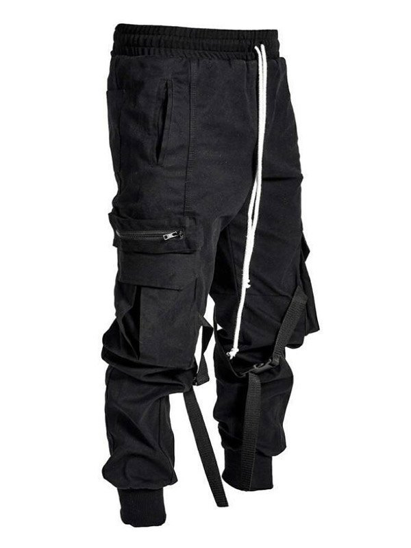 Men's Pocket Tapered Cargo Pants - Black 2XL