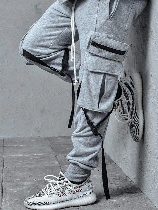 Men's Pocket Tapered Cargo Pants - Gray 2XL