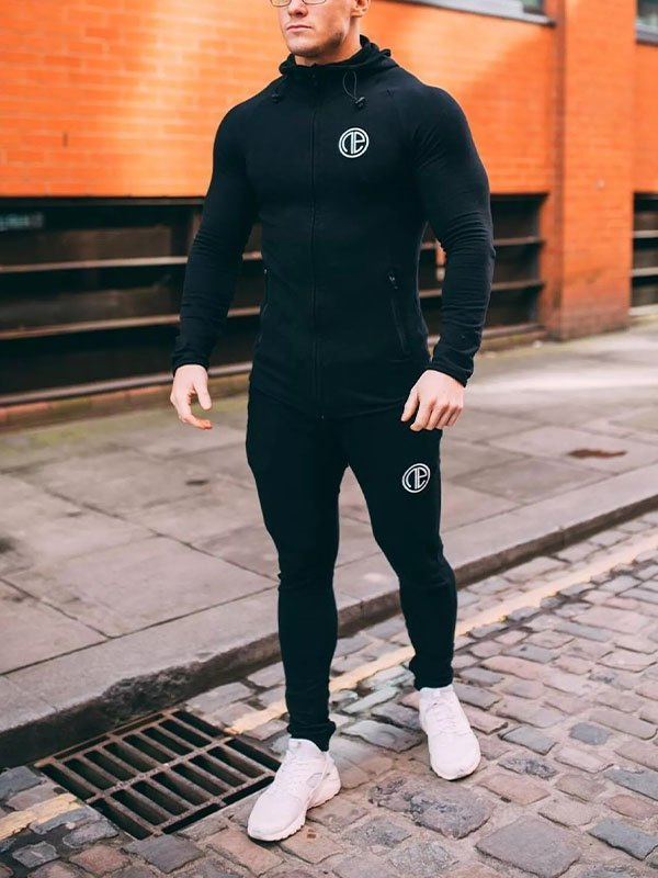 Men's Logo Print Tracksuit Set - Black XL