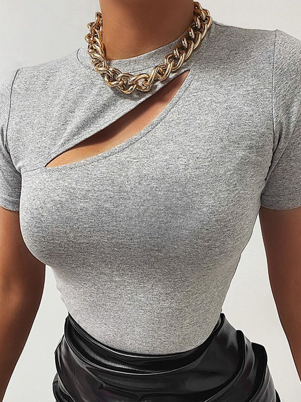 Cutout Short Sleeve Tee - Gray S
