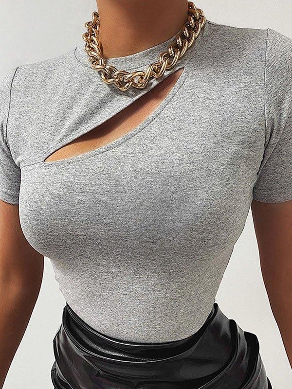 Cutout Short Sleeve Tee - Gray L
